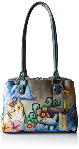 Anuschka Handpainted Leather Triple Compartment Medium Satchel