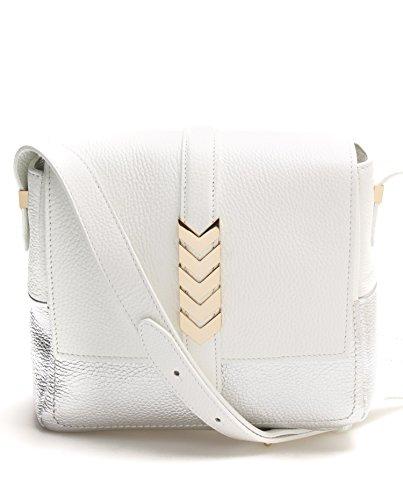 Versace Collection Women Leather Shoulder Bag Goldtone Chevron White