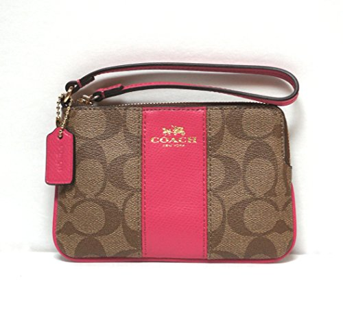 Coach Signature PVC Leather Corner Zip Wristlet – Khaki/Pink