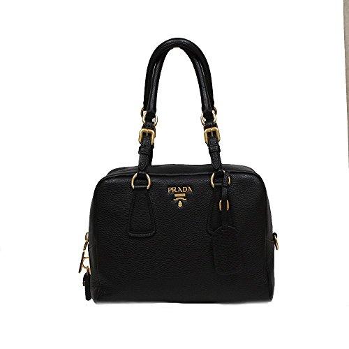 Prada Vit Daino Bauletto Black Leather Top Handle Bag Shoulder Handbag Purse B3091M