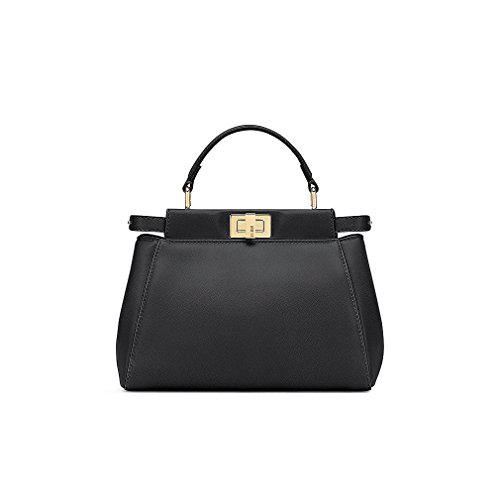 Fendi Mini Peekaboo Black Leather Handbag Made in Italy
