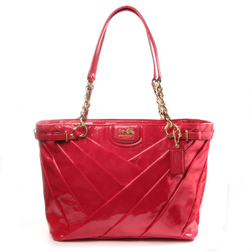 Coach 21300 Madison Diagonal Patent Leather Tote Punch Pink