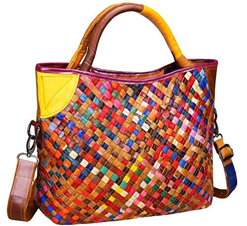 Heshe Women's Handbags Shoulder Tote Cross Body Bags Purses Woven Zippered Pockets