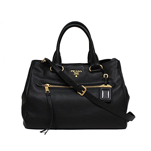 Prada Vit Daino Textured Leather Shopping Tote Handbag with Removable Shoulder Strap BN2793