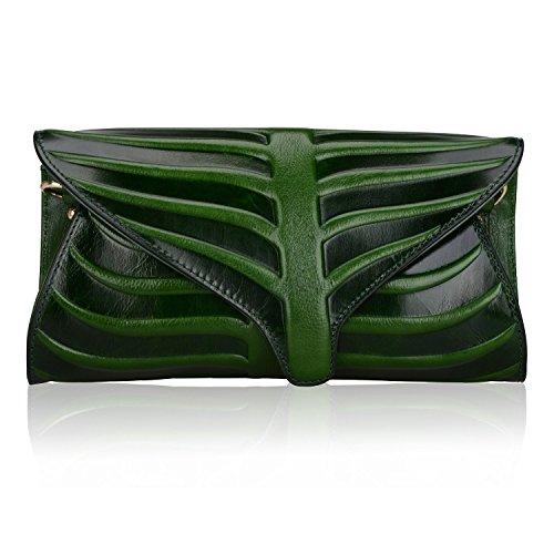 Pijushi Leaf Designer Handbags Embossed Leather Clutch Bag Cross Body Purses 22290