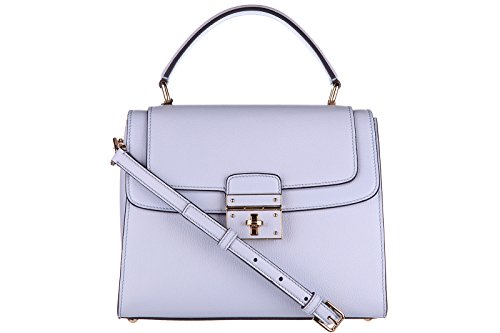 Dolce&Gabbana women's leather handbag shopping bag purse greta light blue