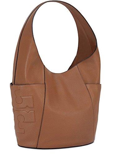 Tory Burch Bark Brown Leather Bombe T Hobo Shoulder Bag