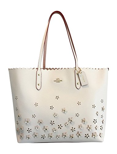 COACH CITY TOTE IN FLORAL APPLIQUE LEATHER, F37651 IMCHK, CHALK WHITE