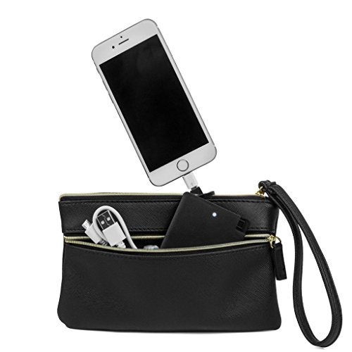 MUNDI Back Up Buddy Phone Charger Womens Wristlet Clutch With Included External Portable Battery Charger For iphone and Smart Phones