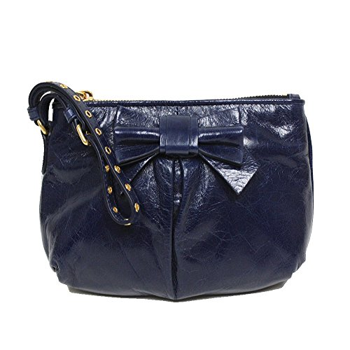 Miu Miu Prada Vitello Lux Navy Blue Leather Bow Wristlet Evening Clutch Bag 5N1681