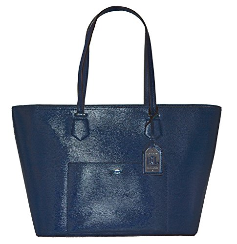 LAUREN Ralph Lauren Leather Lowell Classic Tote Handbag Purse Navy