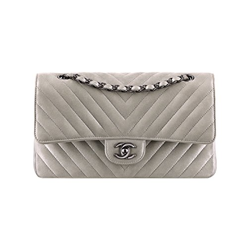 Authentic Chanel Classic Flap Bag Metallic Calfskin Silver Item A01112 Y60595 45003 Made in France