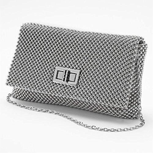 Jessica McClintock Trina Metal Mesh Elegant Womens Clutch Shoulder Bag Evening Cocktail Party Handbag