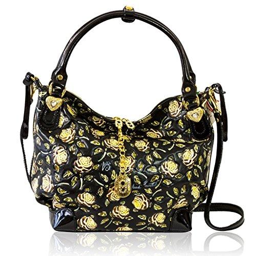 Marino Orlandi Italian Designer Handpainted Yellow Roses Leather Large Satchel