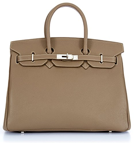 Designer Handbag Caty 14″ Dark Beige Leather Satchel with Silver Hardware & Shoulder Strap Made in Italy
