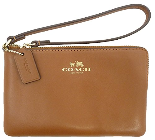 Coach Armor Smooth Leather Corner Zip Wristlet Goldtone Saddle Brown F66449IMSAD