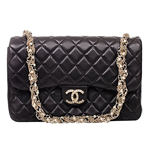 Authentic Chanel Black Lambskin Westminster Pearl Flap Bag Article: A94305 Y09157 Made in France