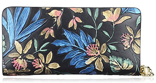 Pijushi Designer Floral Women's Genuine Leather Zipper Around Wallet