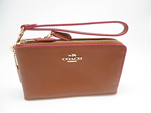 Coach Edgepaint Crossgrain Leather Double Corner Zip Wristlet Saddle Dahlia 65755
