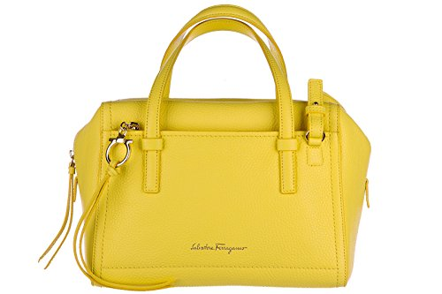 Salvatore Ferragamo women's leather handbag tote shopping bag purse addy yellow