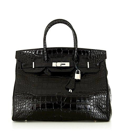 Designer Handbag Caty 12″ Croco Embossed Black Leather Satchel with Silver Hardware & Shoulder Strap