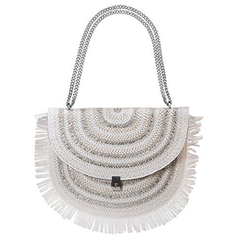 Eric Javits Designer Women's Tiki Pouch Handbag (White/Silver)