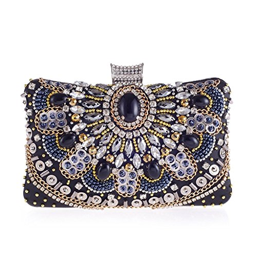 VENNOBIA Women Beaded Magnet Clasp Party Evening Clutch Bag Purse with Chain