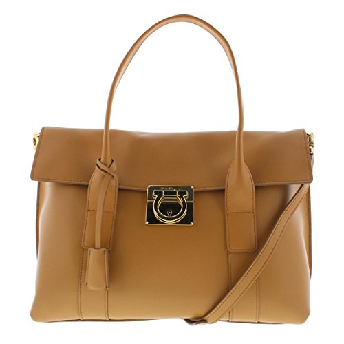 Salvatore Ferragamo Womens Sookie Leather Flap Satchel Handbag