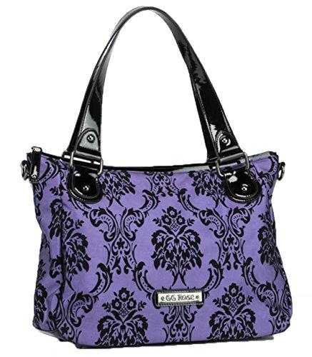 Rock Rebel Vixen Day Bag Victorian Damask Violet Purple and Black Handbag Purse