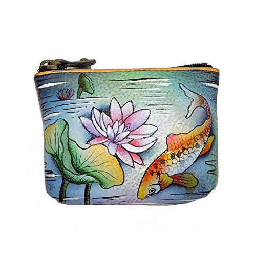 Anuschka Genuine Leather Hand Painted Coin Pouch (Karmic Koi)