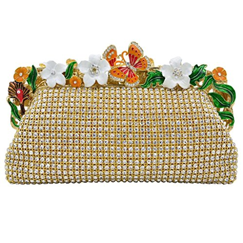 ILILAC Woman's Clutch Bags Shiny Flower Party Evening Handbags