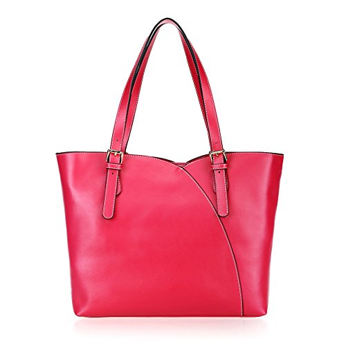 Fineplus New Designer Elegance Pure Color Split Cow Leather Hnadbags For Womens Deep Rose Red