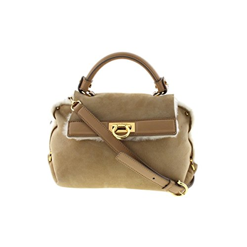 Salvatore Ferragamo Womens Sofia Sheepskin Faux Fur Lined Satchel Handbag