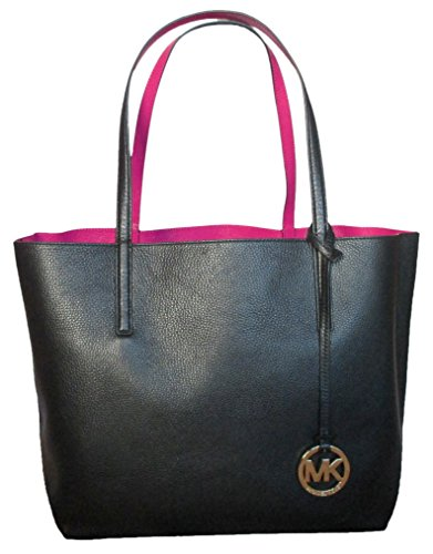 Michael Kors Izzy Large Reversible Tote Bag Leather Black Fuschia
