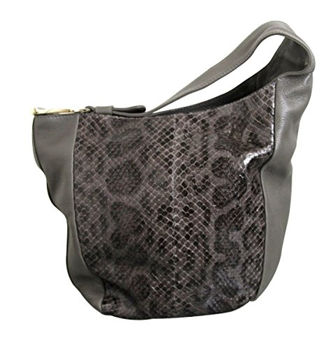 Gucci Women's Gray Python Leather Top Zip Greenwich Tote Bag 257050