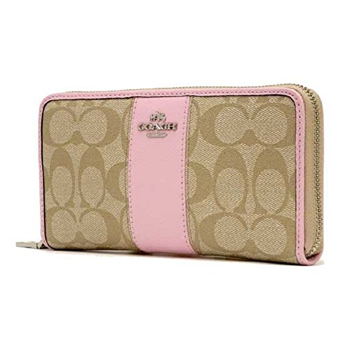 Coach Signature PVC Leather Accordion Zip Around Wallet, Light Khaki/Petal
