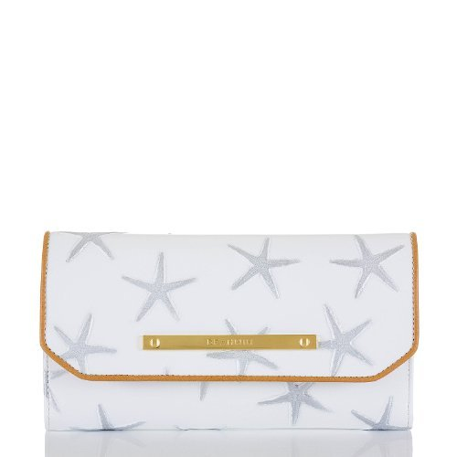 Brahmin Soft Checkbook Silver Atlantic Leather Starfish Wallet Clutch