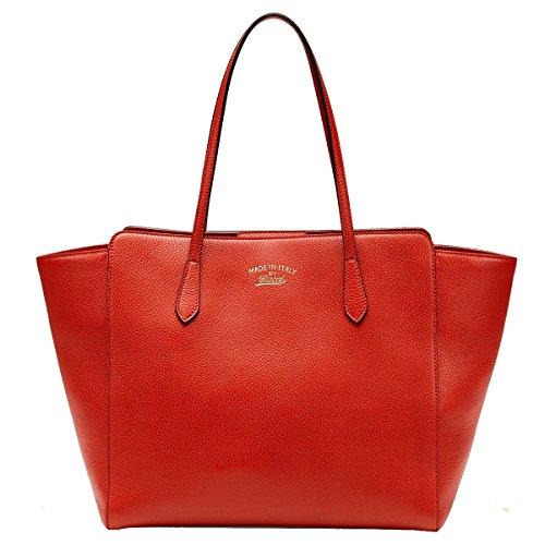 Gucci Swing Orange Red Leather Shoulder Tote Handbag 354397