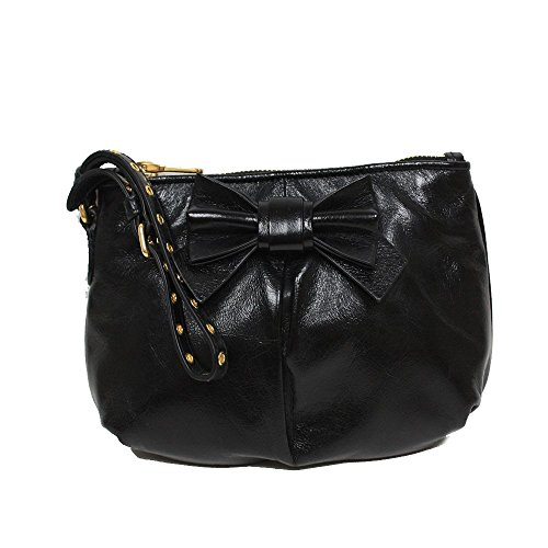 Miu Miu Prada Vitello Black Leather Bow Wristlet Evening Clutch Bag 5N1681