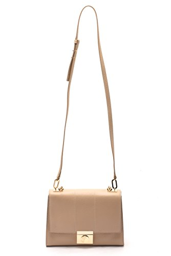 Versace Collections Women Pebbled Leather Crossbody Clutch Handbag Khaki