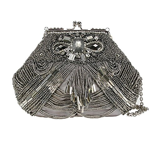 Mary Frances Swing 'N Sway Handbag Silver Pewter Beaded Bag