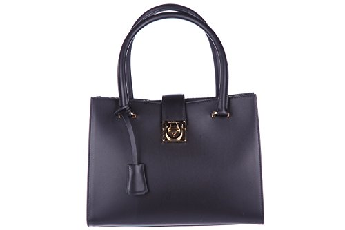 Salvatore Ferragamo women's leather handbag tote shopping bag purse juliette bla