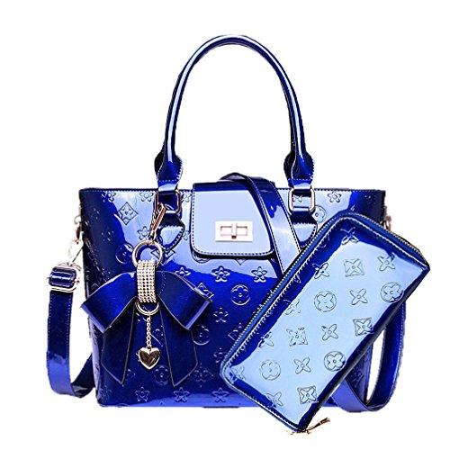 Zzfab LV2 New Designer Handbags Style Purse and Wallet Set Blue