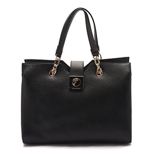 Versace Collections Women Pebbled Leather Top Handle Handbag Satchel Black