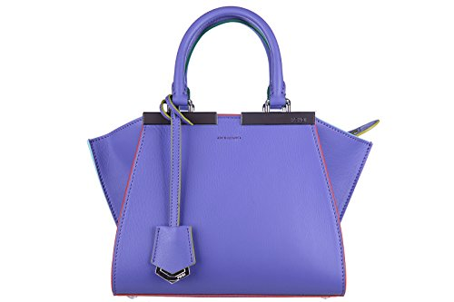 Fendi women's leather handbag shopping bag purse 3jours mini dolce purple