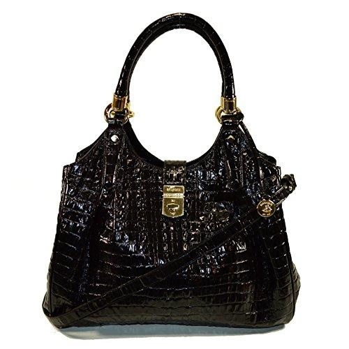 Brahmin Elisa Onyx La Scala Emb Leather Satchel Black