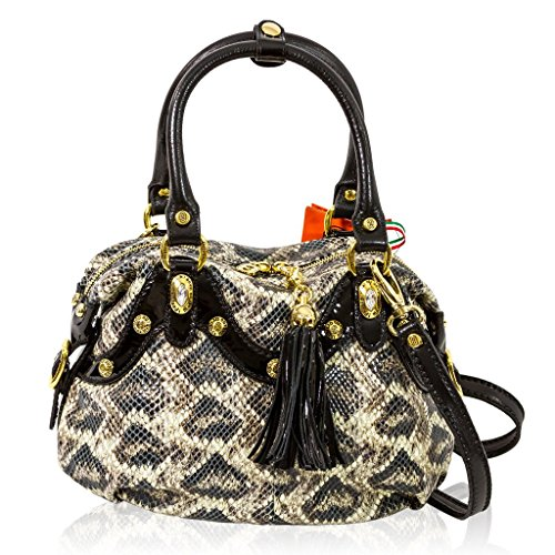 Marino Orlandi Italian Designer Grey Python Leather Purse Satchel Crossbody Bag