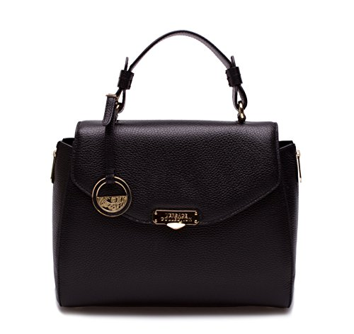 Versace Collection Women Pebbled Leather Satchel Handbag LBF0302 LVFA Black
