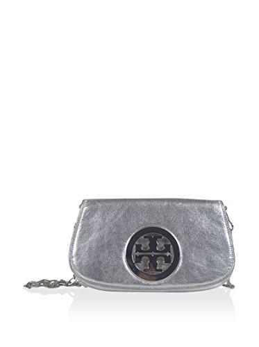 Tory Burch Women's Amanda Metallic Logo Clutch/Cross-body, Silver, One Size