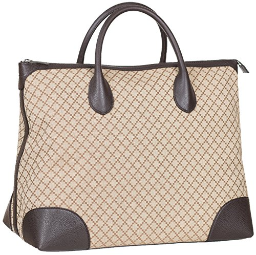 Gucci Beige GG Diamante Canvas Leather Zip Up Large Tote Bag
